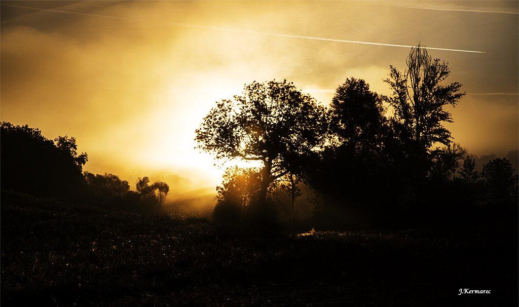 Lever de soleil embrumé